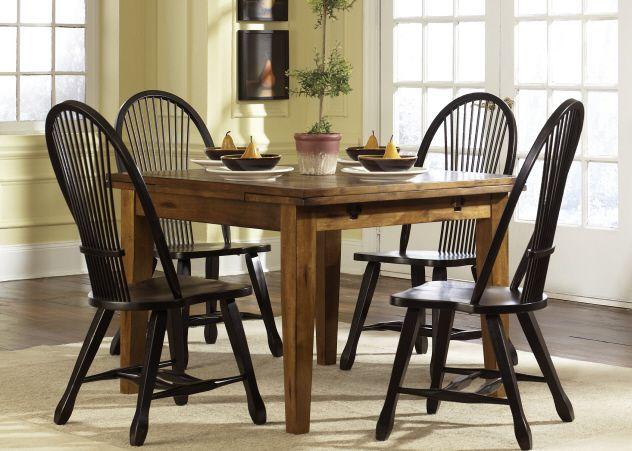 Liberty Furniture Treasures Rustic Oak Bow Back Side Chair-Black-17-T3868