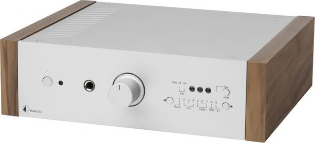 Pro-Ject DS2 Line Silver Stereo Integrated Amplifier with Walnut Wooden Side Panels-MaiA DS2-SV-WL