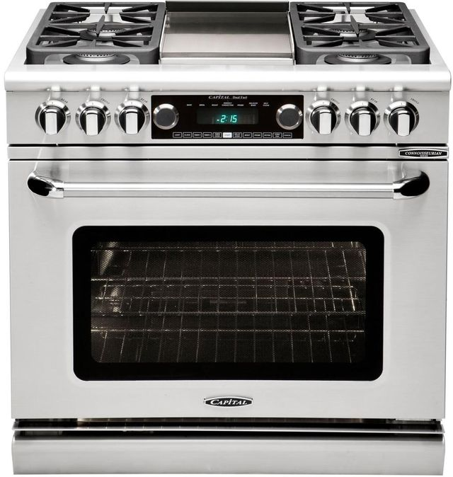"""Capital Connoisseurian 36"""" Stainless Steel Free Standing Dual Fuel Range-CSB362G2L"""