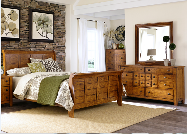 Liberty Grandpas Cabin Bedroom King Sleigh Bed, Dresser, Mirror and Chest Collection-175-BR-KSLDMC