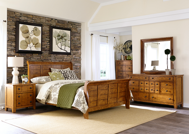 Liberty Grandpas Cabin Bedroom King Sleigh Bed, Dresser, Mirror, Chest and Night Stand Collection-175-BR-KSLDMCN