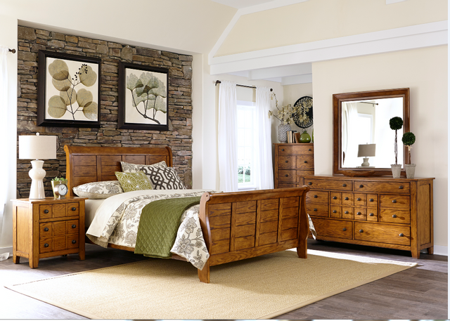 Liberty Grandpas Cabin Bedroom King Sleigh Bed, Dresser, Mirror and Night Stand Collection-175-BR-KSLDMN