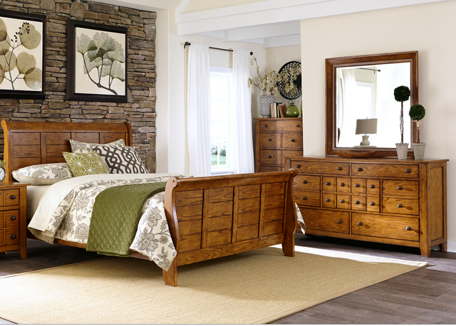 Liberty Furniture Grandpas Cabin 4 Piece Aged Oak Queen BedroomSet-175-BR-QSLDMC