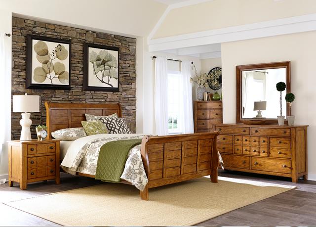 Liberty Furniture Grandpas Cabin 4 Piece Aged Oak Queen Bedroom Set-175-BR-QSLDMN