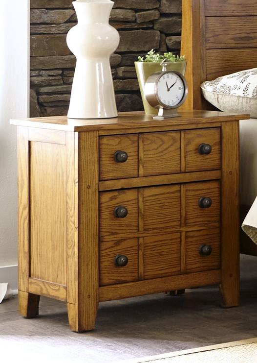 Liberty Furniture Grandpas Cabin Aged Oak Nightstand-175-BR61