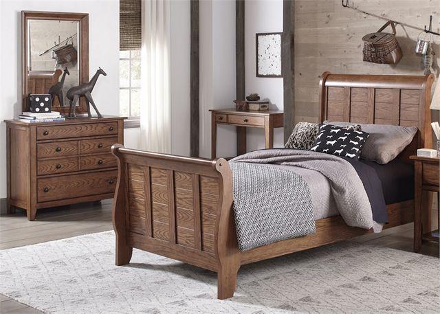 Liberty Furniture Grandpas Cabin 3 Piece Aged Oak Youth Twin Bedroom Set-175-YBR-TSLDM