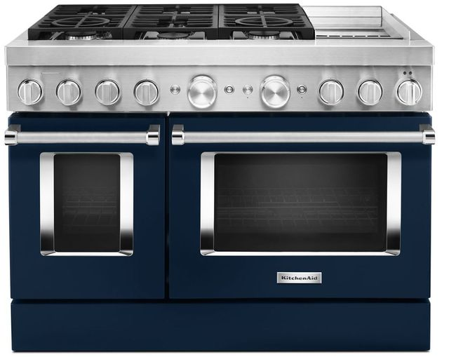 """KitchenAid® 48"""" Ink Blue Commercial-Style Free Standing Dual Fuel Range with Griddle-KFDC558JIB"""