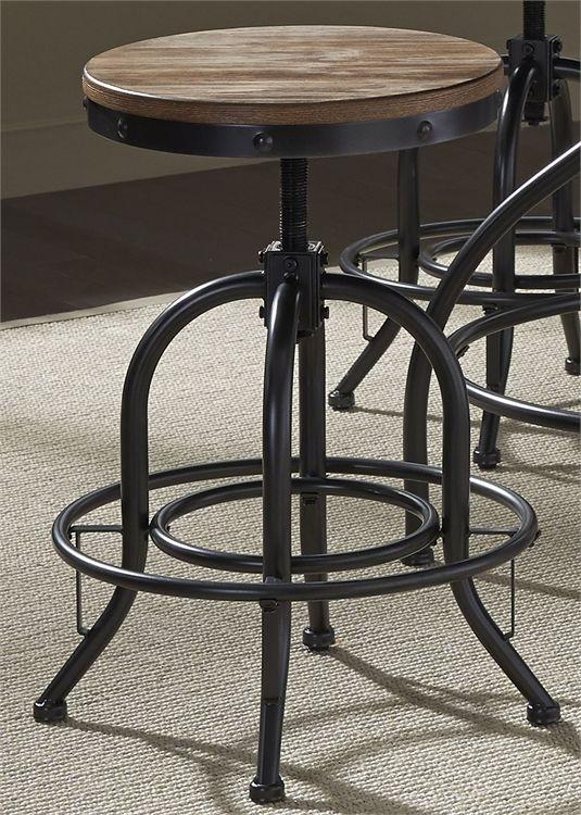 """Liberty Vintage Dining Distressed Black 24"""" Adjustable Barstool-179-B000324"""