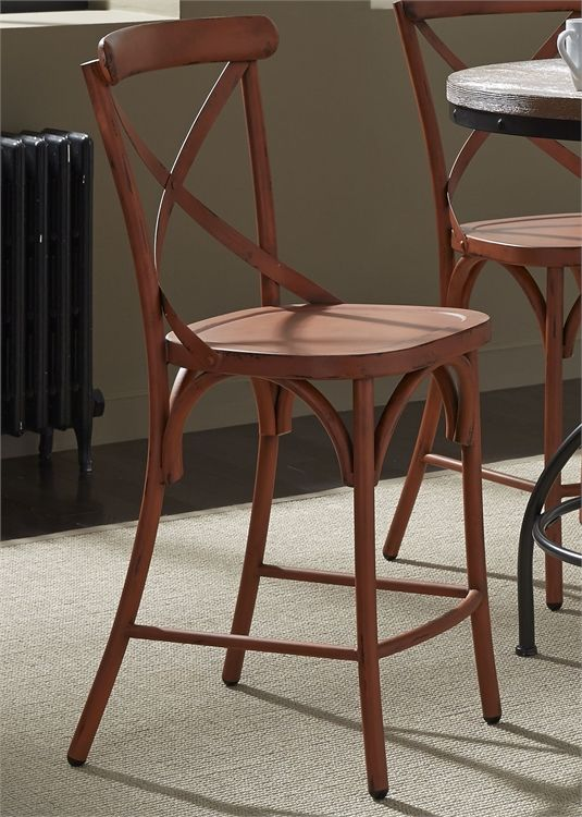 Liberty Vintage Dining Distressed Red Counter Chair-179-B300524-R