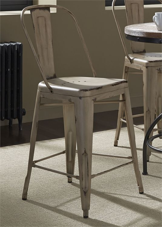 Liberty Vintage Dining White Counter Chair-179-B350524-W