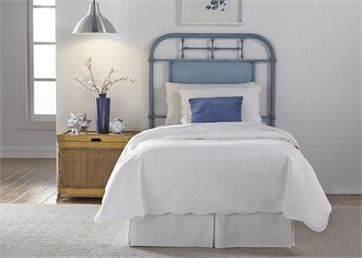 Liberty Vintage Blue Youth Bedroom Twin Metal Headboard-179-BR11H-BL