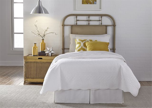 Liberty Vintage White Youth Bedroom Twin Metal Headboard-179-BR11H-W