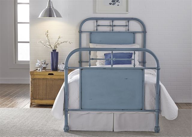 Liberty Vintage Blue Youth Bedroom Twin Metal Bed-179-BR11HFR-BL