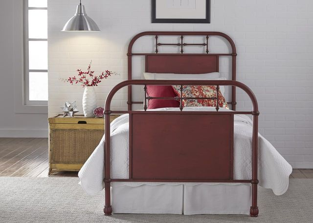 Liberty Vintage Red Youth Bedroom Twin Metal Bed-179-BR11HFR-R