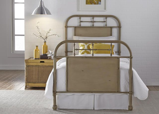 Liberty Vintage White Youth Bedroom Twin Metal Bed-179-BR11HFR-W