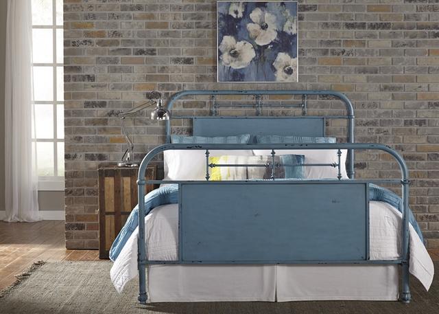 Liberty Furniture Vintage Distressed Blue  Queen Metal Headboard-179-BR13H-BL