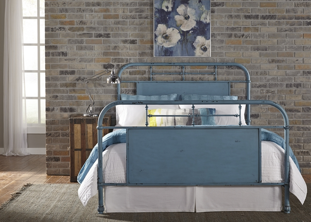 Liberty Furniture Vintage Distressed Blue Queen Metal Bed-179-BR13HFR-BL