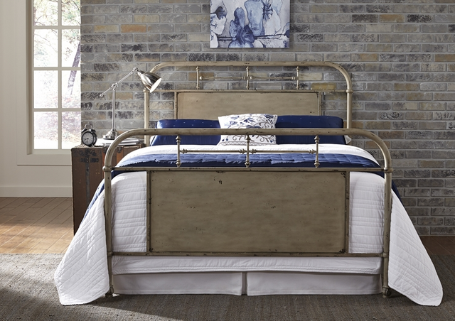 Liberty Furniture Vintage Distressed White Queen Metal Bed-179-BR13HFR-W
