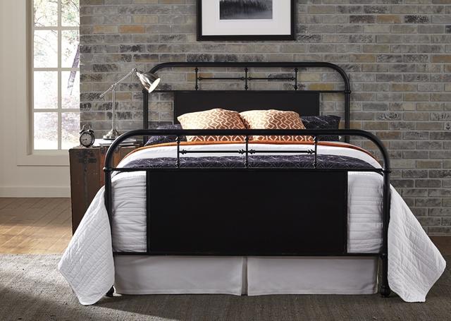 Liberty Furniture Vintage Distressed Black King Metal Bed-179-BR15HFR-B