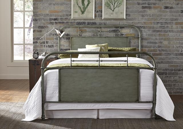 Liberty Furniture Vintage Distressed Green King Metal Bed-179-BR15HFR-G
