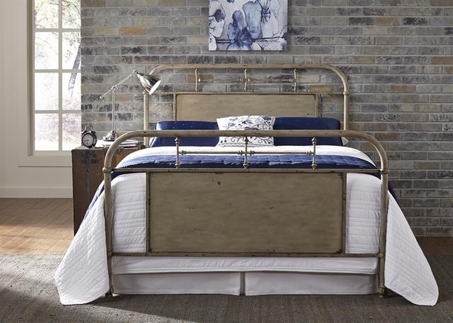 Liberty Furniture Vintage Distressed White King Metal Bed-179-BR15HFR-W