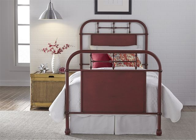 Liberty Vintage Red Youth Bedroom Full Metal Bed-179-BR17HFR-R
