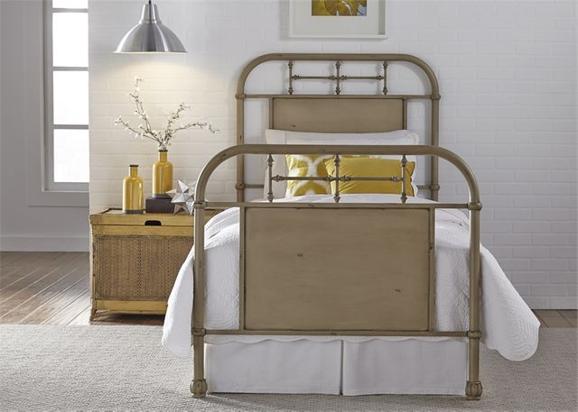 Liberty Vintage White Youth Bedroom Full Metal Bed-179-BR17HFR-W