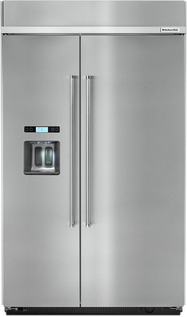 KitchenAid® 29.52 Cu. Ft. Stainless Steel Built In Side By Side Refrigerator-KBSD618ESS