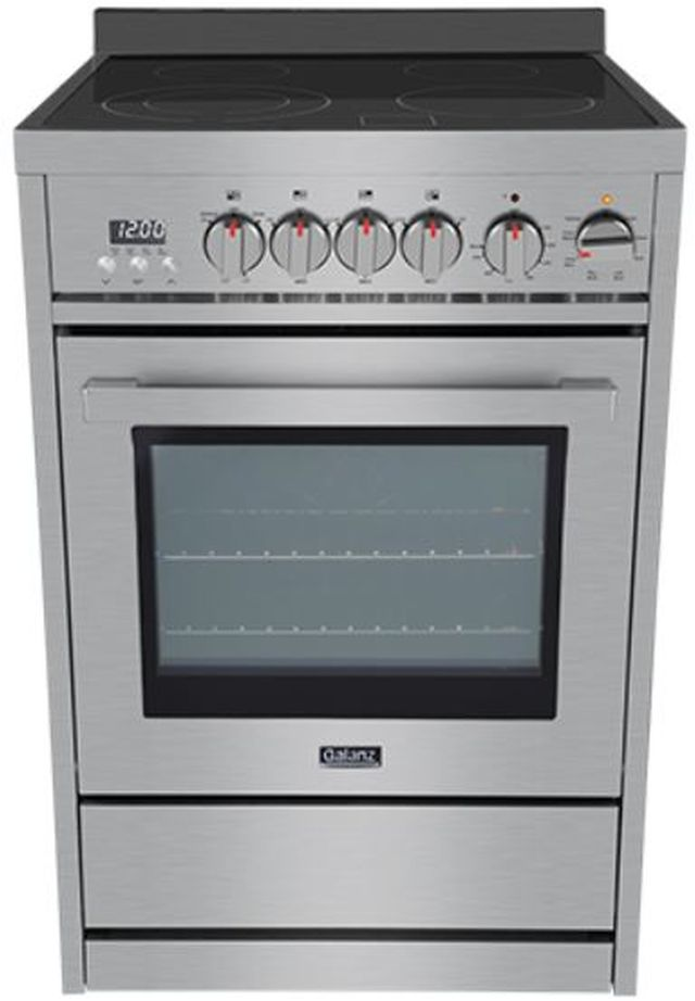 """Galanz 24"""" Stainless Steel Free Standing Electric Range-GL1FR24ASSARN"""