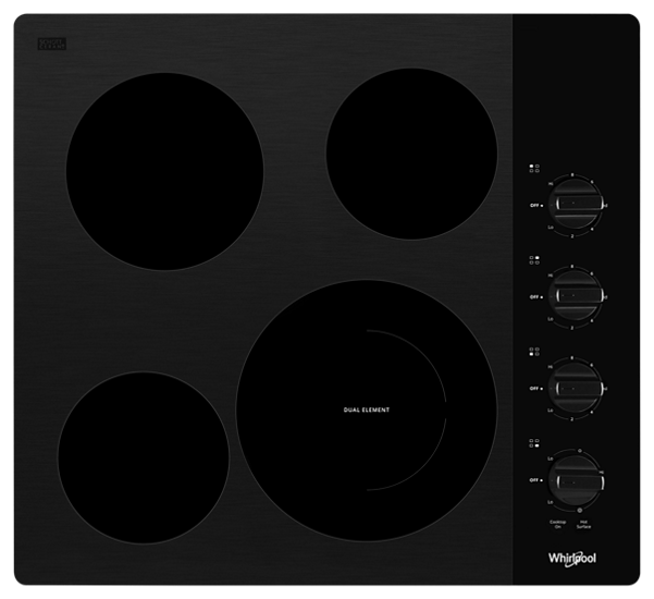 """Whirlpool® 24"""" Black Electric Cooktop-WCE55US4HB"""