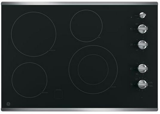 """GE® 30"""" Electric Cooktop-Stainless Steel on Black-JP3530SJSS"""
