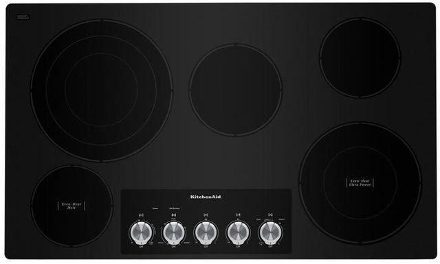 """KitchenAid® 36"""" Black Electric Cooktop-KCES556HBL"""