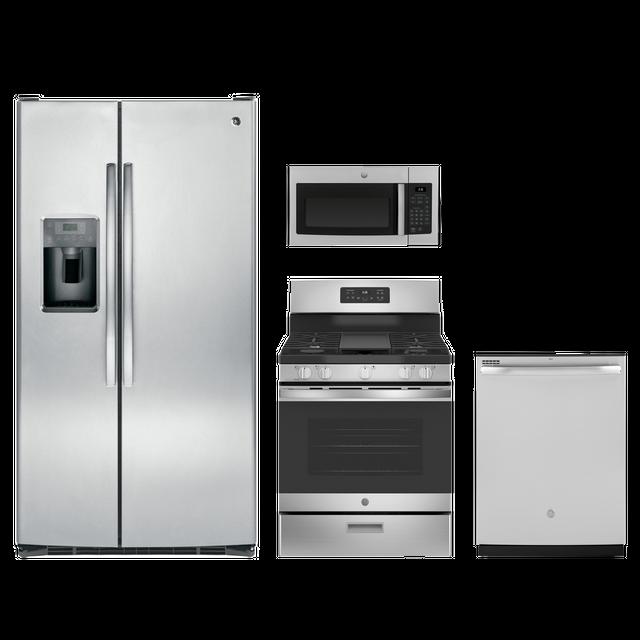 GE® 4 Piece Kitchen Package-Stainless Steel-GEKITJGBS66REKSS