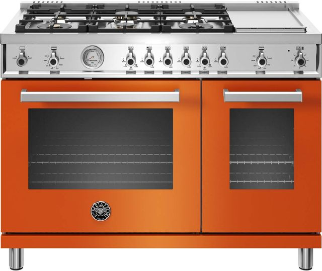 Cuisinière au gaz style Pro Bertazzoni® de 7,1 pi³ de 48 po - Orange-PROF486GGASART