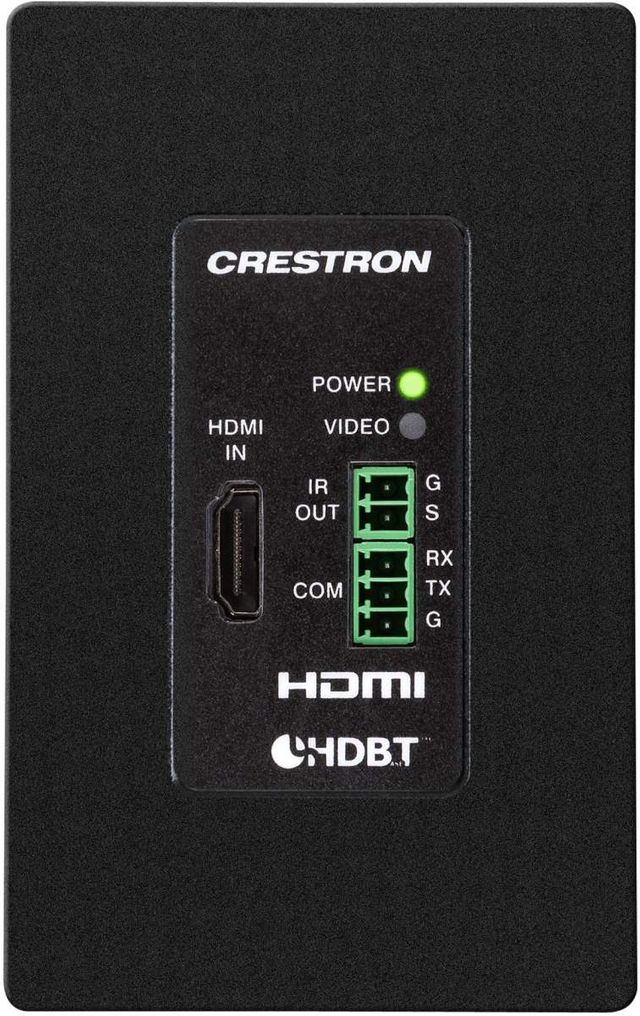 Crestron® DigitalMedia 8G+® Black 4K60 4:4:4 HDR Wall Plate Transmitter-DM-TX-4KZ-100-C-1G-B-T