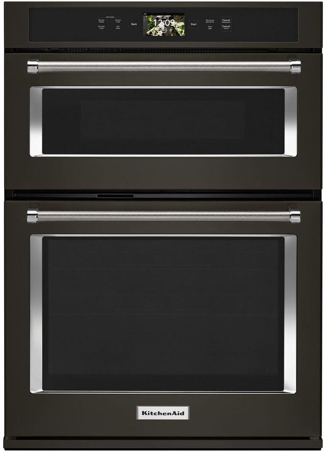 """KitchenAid® 30"""" Black Stainless Steel with PrintShield™ Finish Smart Electric Oven/Micro Combo Built In-KOCE900HBS"""
