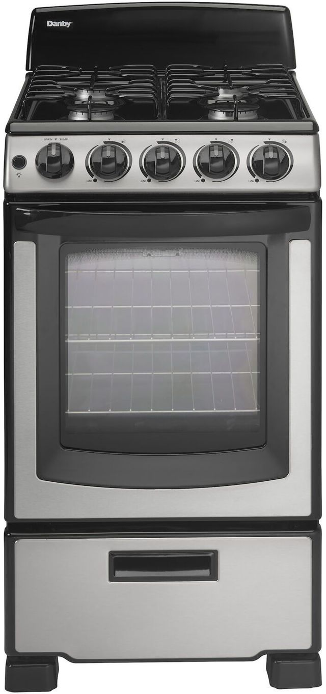 """Danby® 20"""" Black with Stainless Steel Free Standing Gas Range-DR202BSSGLP"""