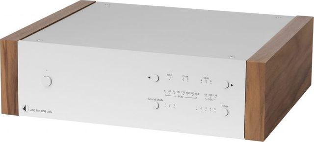 Pro-Ject DS2 Line Silver High-End Digital/Analogue Converter with Walnut Wood Panels-DAC Box DS2 Ultra-SV-WL