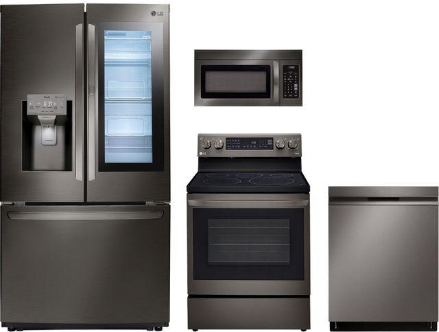 LG 4 Piece Black Stainless Steel Kitchen Package-LGKITLFXS26596D