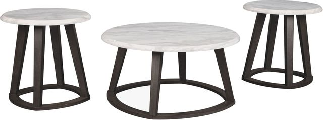 Signature Design by Ashley® Luvini White/Dark Charcoal Gray 3 Piece Occasional Table Set-T414-13
