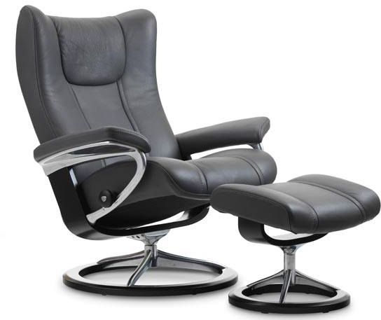 Stressless® by Ekornes® Wing Large Signature Base Chair and Ottoman-1060315
