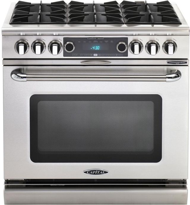 """Capital Connoisseurian 36"""" Stainless Steel Free Standing Dual Fuel Range-COB366N"""