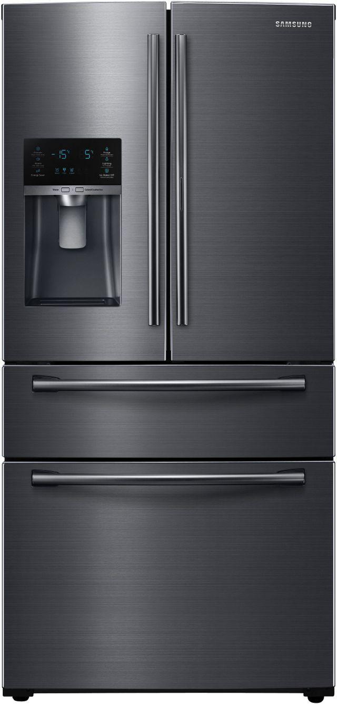 Samsung 25 Cu. Ft. 4-Door French Door Refrigerator-Fingerprint Resistant Black Stainless Steel-RF25HMEDBSG