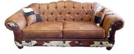 Million Dollar Rustic Chestnut Cowhide Sofa-20-4431-CNUT-CH-SOF