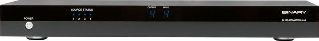 SnapAV Binary™ 120 Series Black 4x4 HDMI Matrix Switcher with HDMI Outputs-B-120-HDMATRIX-4x4