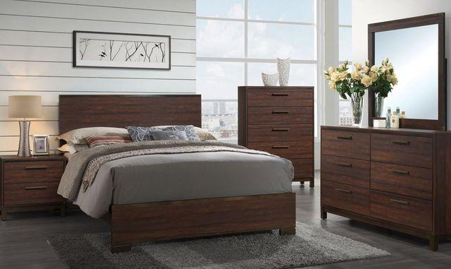 Coaster Edmonton 5 Piece Rustic Tobacco Queen Panel Bedroom Set 204351q S5 Ihome Furniture