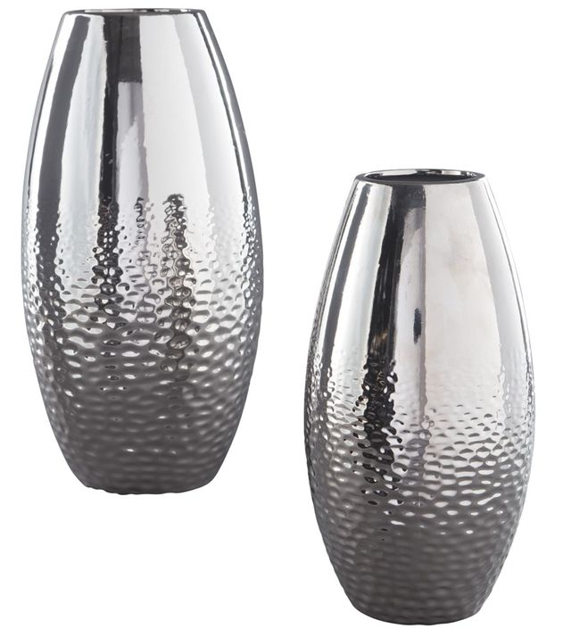 Signature Design by Ashley® Dinesh 2 Piece Silver Vase Set-A2000355