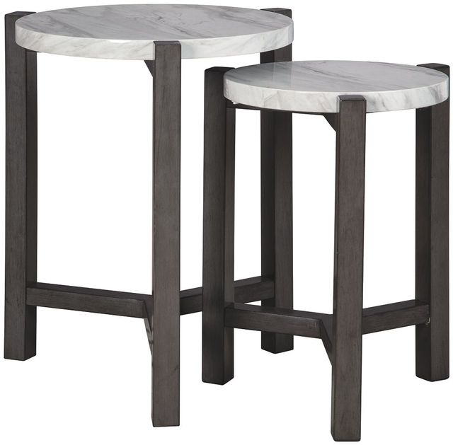 Signature Design by Ashley® Crossport Set of 2 Gray/White/Brown Accent Tables-A4000232