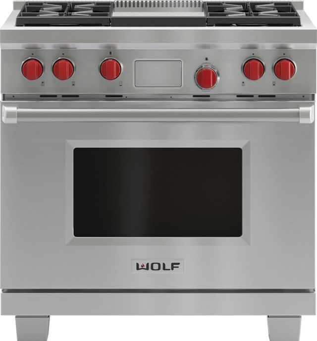 """Wolf® 36"""" Pro Style Dual Fuel Range-Stainless Steel-DF364G"""