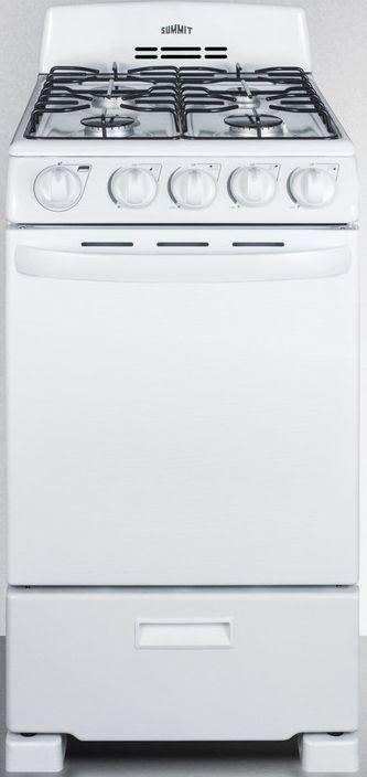 "Summit® 20"" White Free Standing Electric Range-RG200WS"